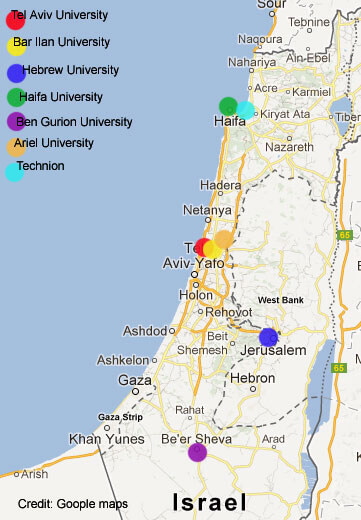 Location of Universities in Israel